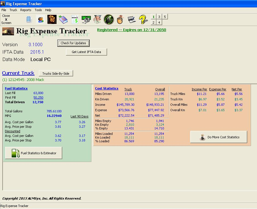 Click to view Rig Expense Tracker 1.1003 screenshot